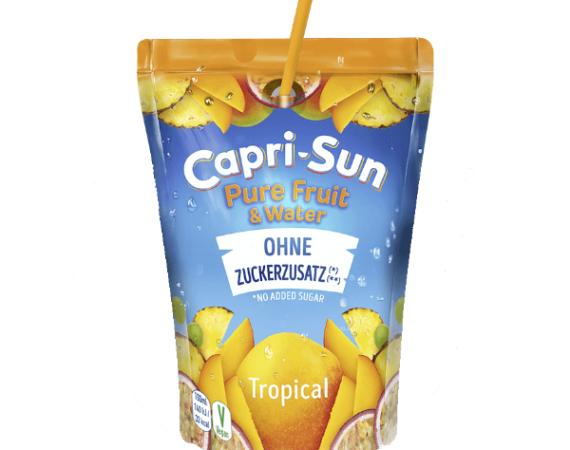 W naszej Polskiej ofercie znalazły się 2 nowe smaki soczków z mniejszą zawartością cukru –  Capri Sun, Tropical